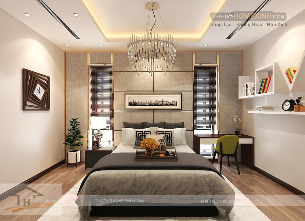 Phòng ngủ tầng 2 được trang trí rất hài hòa và tạo sự thoải mãi và thư gian khi nghỉ ngơi