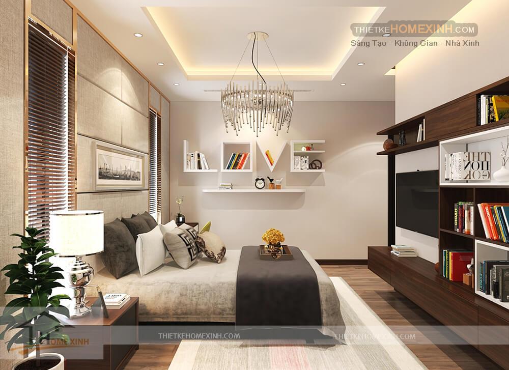 Không gian phòng ngủ biệt thự thiết kế đơn giản, hài hòa màu sắc