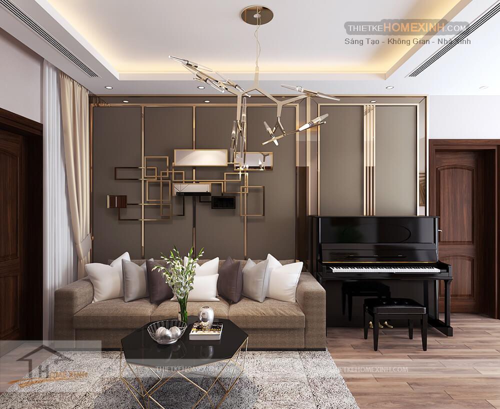 Thiết kế nội thất biệt thự 530m2 tại Tây Hồ, Hà Nội - phòng khách