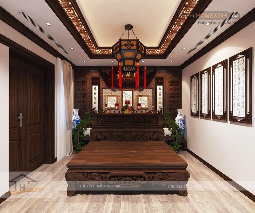 Thiết kế nội thất biệt thự 530m2 tại Tây Hồ, Hà Nội - Phòng thờ