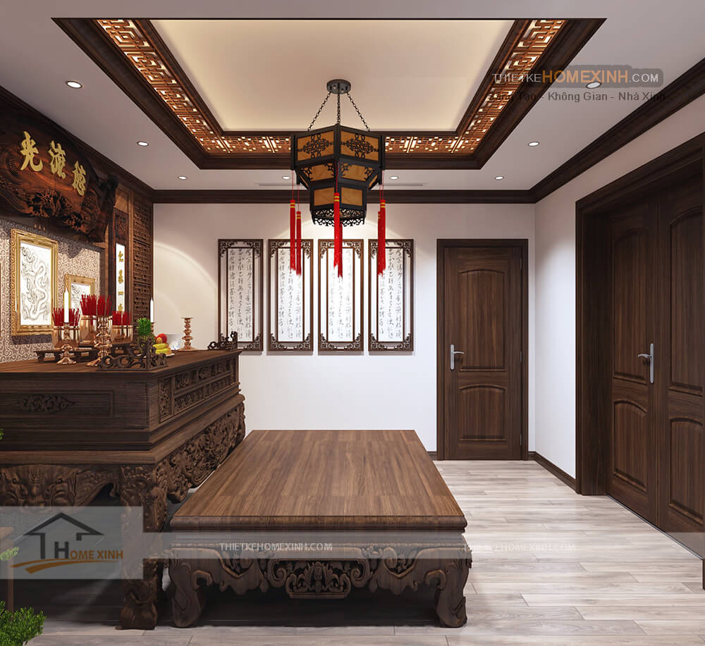 Nội thất phòng thờ đều được làm bằng gỗ tự nhiên rất đẹp