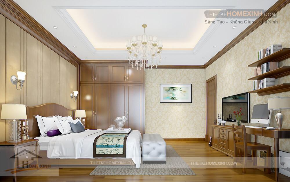 Nội thất phòng ngủ con trai biệt thự tân cổ điển tại Phú thọ - tủ quần áo