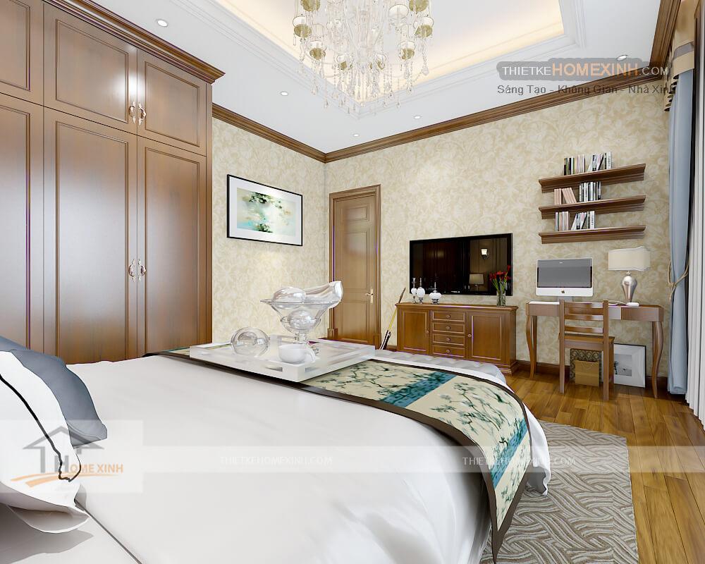 Nội thất phòng ngủ con trai biệt thự tân cổ điển tại Phú thọ - kệ tivi
