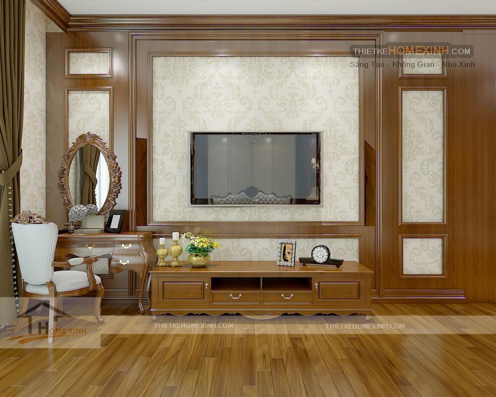 Kệ tivi và bàn trang điểm cùng các đồ nội thất khác đều được làm bằng chất liệu gỗ tự nhiên chắc chắn và thân thiện