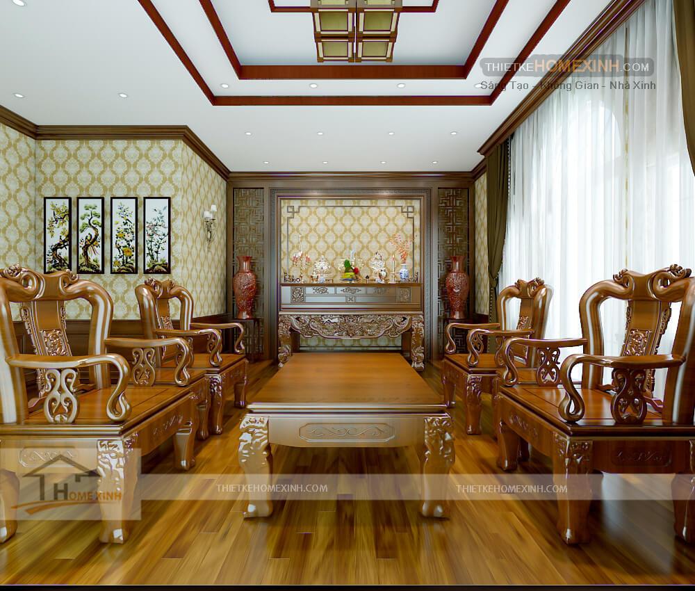 Phòng thờ được thiết kế trang nghiêm