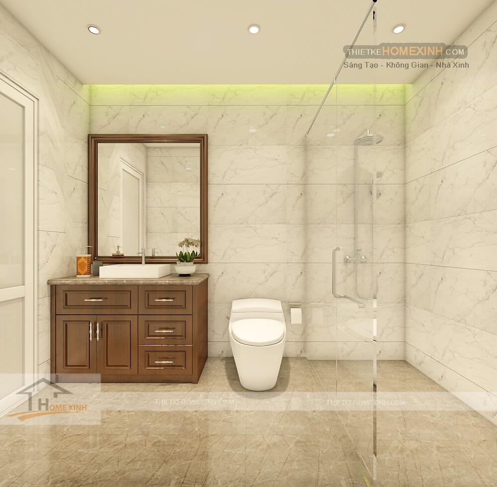 Không gian phòng tắm rộng kết hợp cùng bồn rửa mặt bằng gỗ đẳng cấp