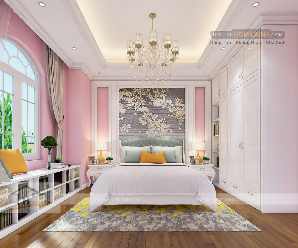 Phòng ngủ con gái nữ tính và trẻ trung
