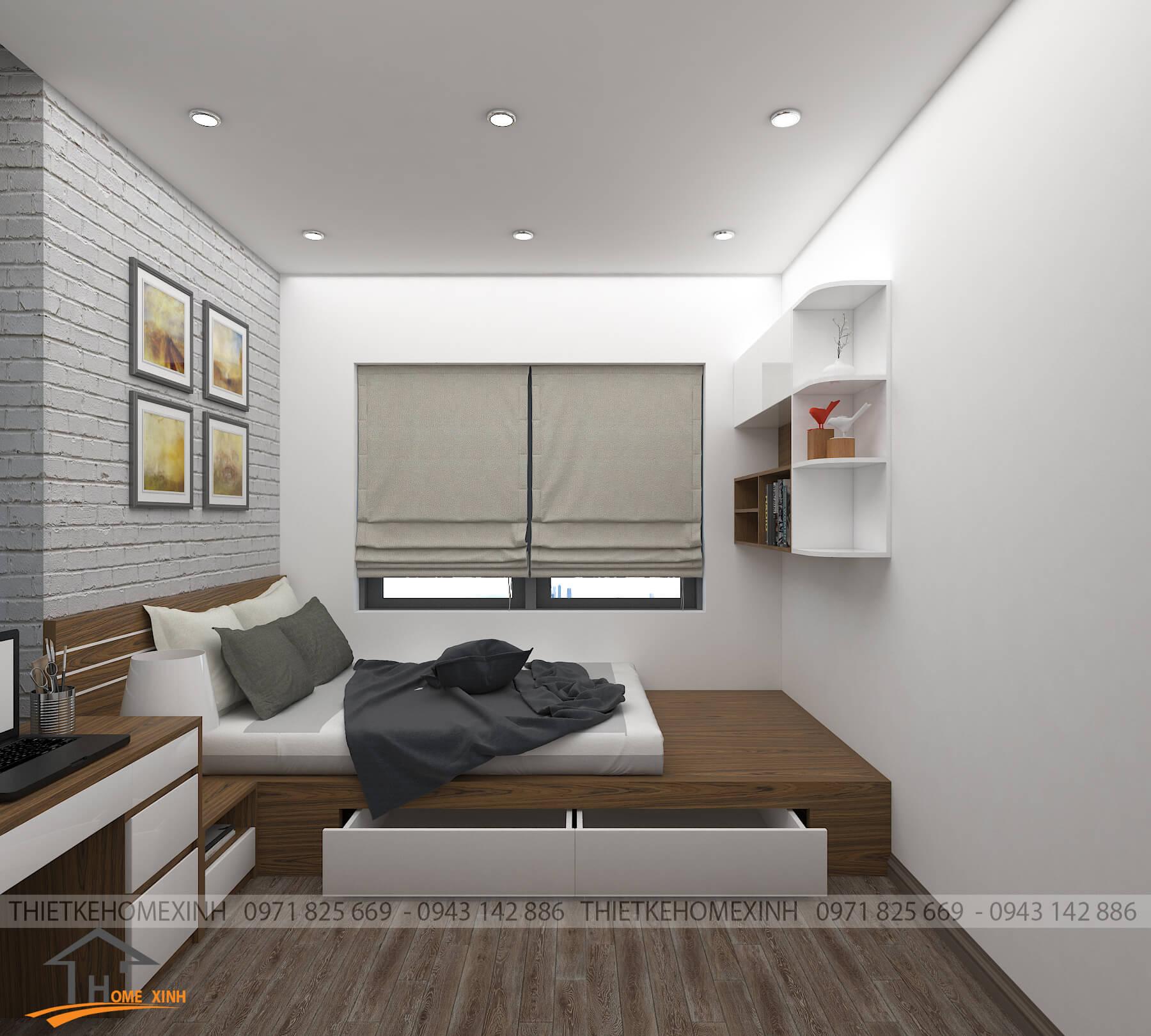 Phòng ngủ chung cư thoáng đãng