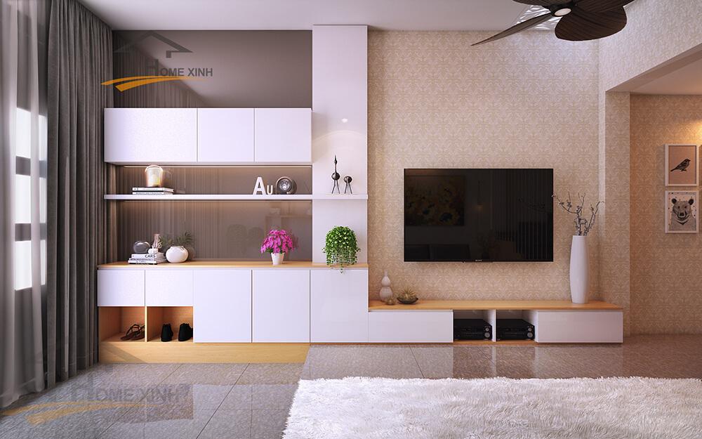 Kệ ti vi thiết kế đơn giản kết hợp với tủ trang trí