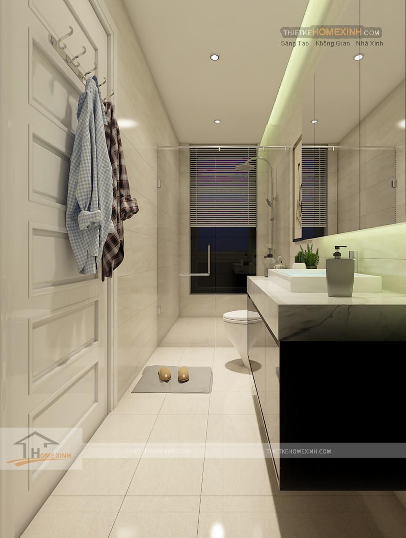 Không gian phòng tắm biệt thự Sơn La tối giản hóa mọi thứ