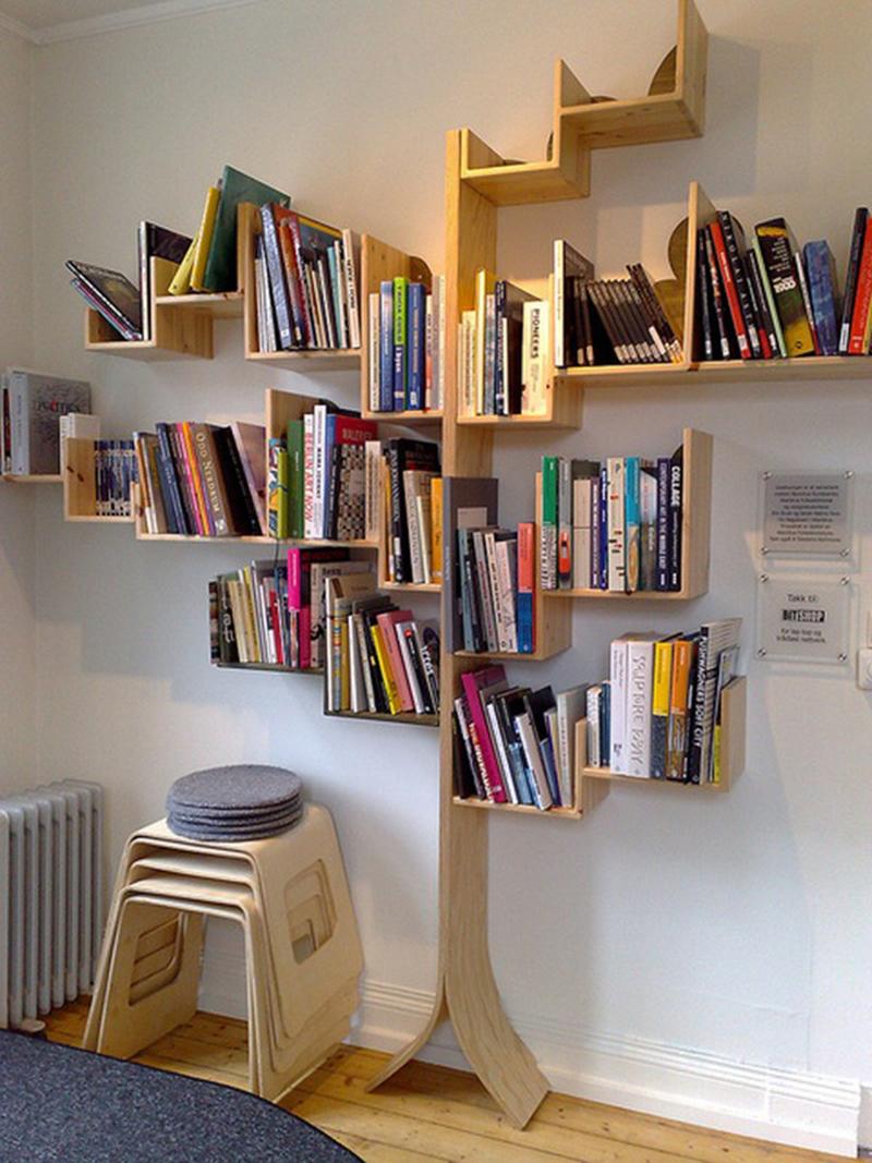 Tủ sách đẹp có thiết kế hình