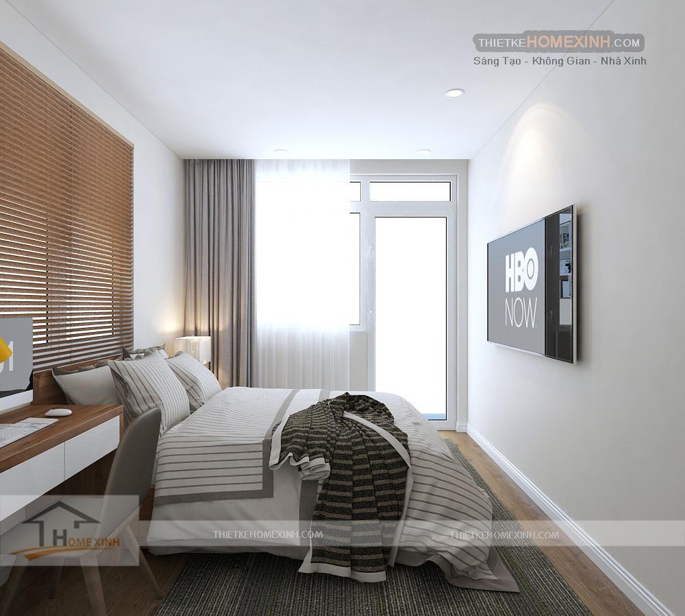 Phòng ngủ được thiết kế tối giản và tiện dụng