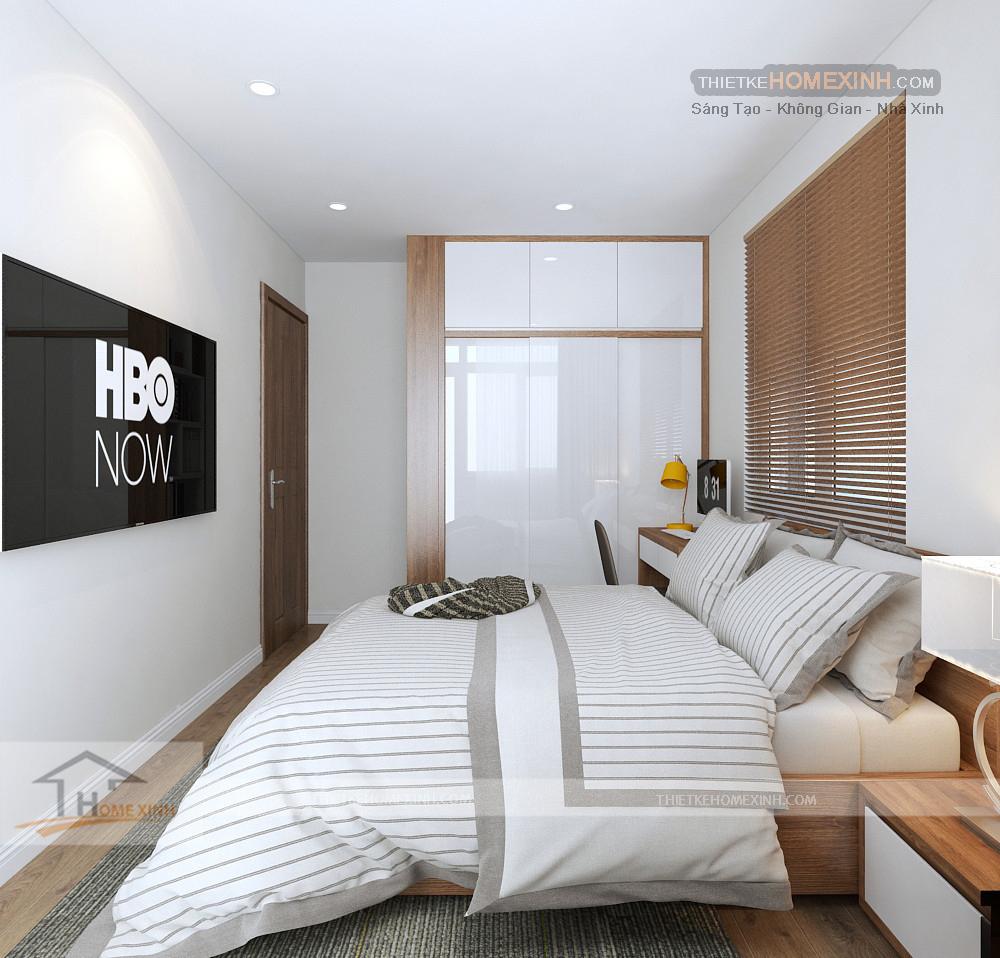 Nội thất trong phòng ngủ gọn gàng phù hợp với diện tích căn hộ nhỏ