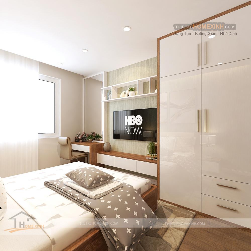 Căn phòng được thiết kế đầy đủ công năng sử dụng cơ bản cho phòng ngủ
