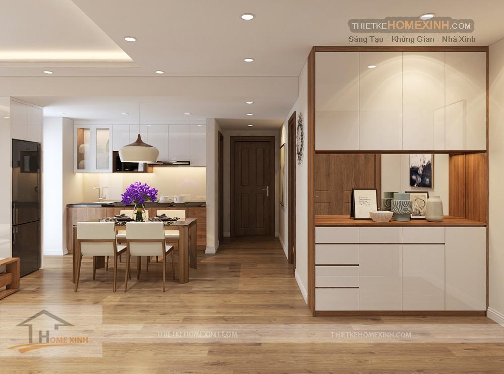 Không gian sảnh vào và không gian bếp và ăn của các thành viên gia chủ