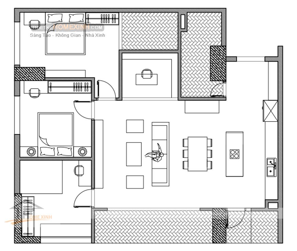 Bản vẽ mặt bằng bố trí nội thất cho căn hộ