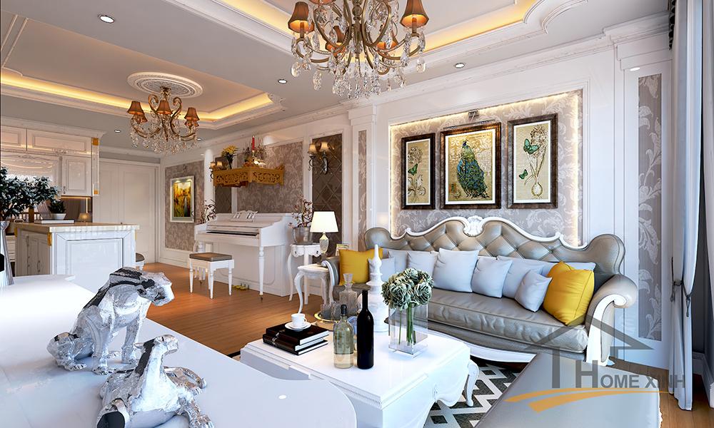 Nội thất phòng khách chung cư Golden field 110m2 - Chú Huy