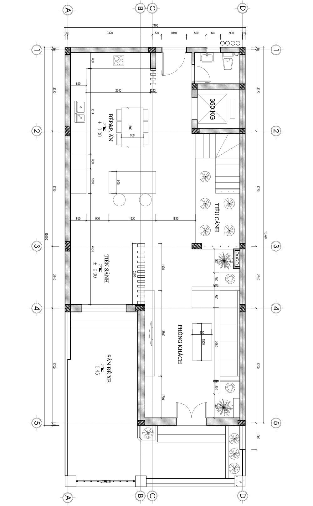 Bản vẽ thiết kế nhà liền kề - tầng 1