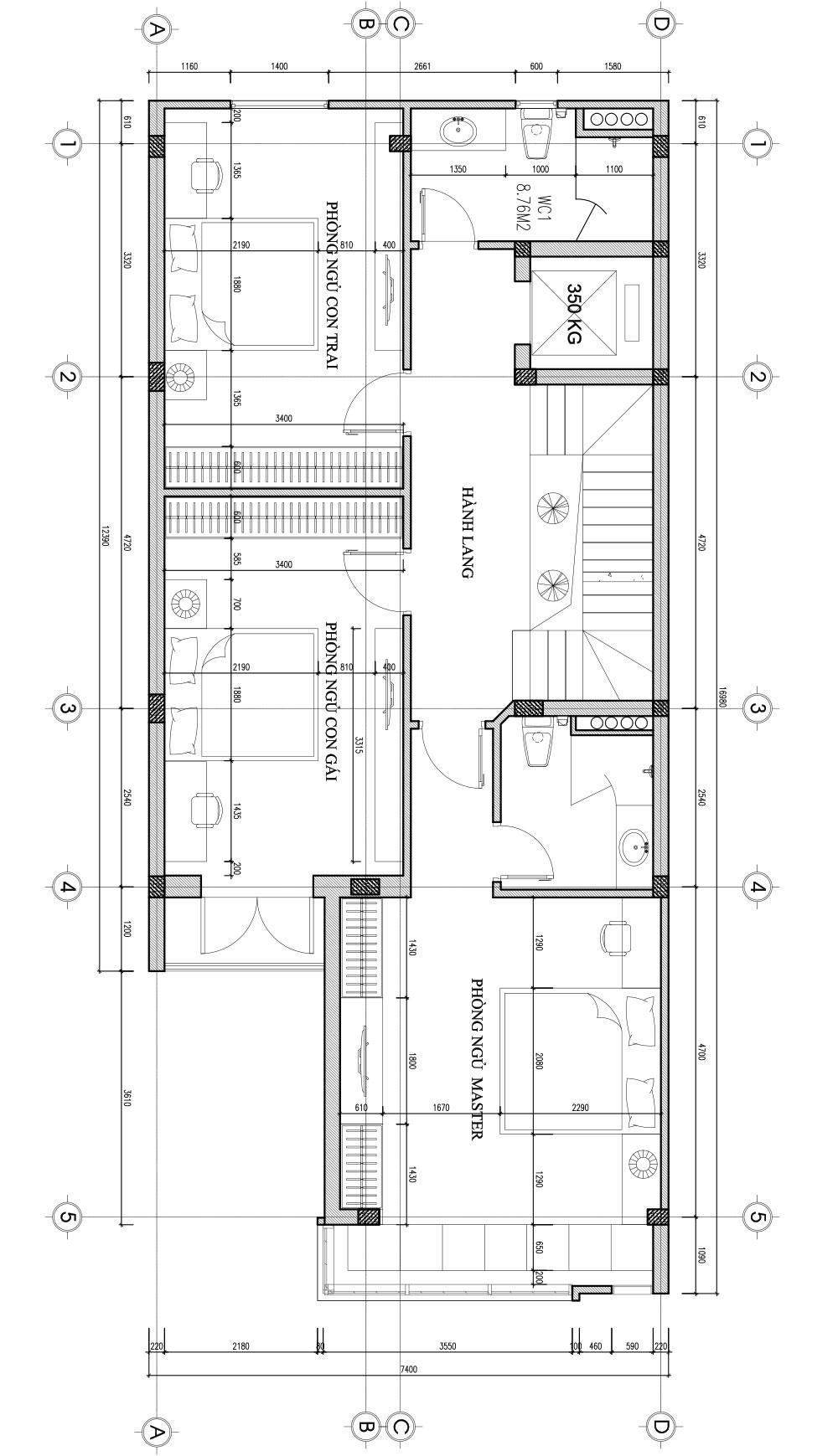 Bản vẽ thiết kế nhà liền kề - tầng 2