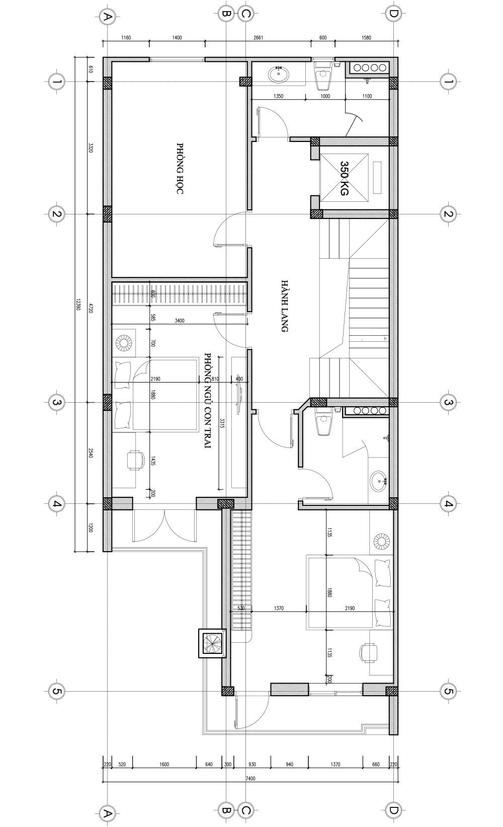 Bản vẽ thiết kế nhà liền kề - tầng 3