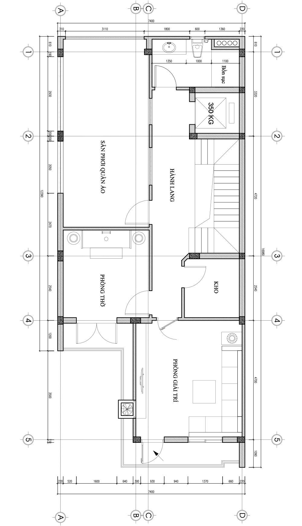 Bản vẽ thiết kế nhà liền kề - tầng 4