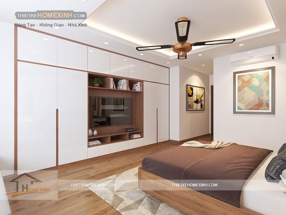 Thiết kế nội thất phòng ngủ master nhà liền kề