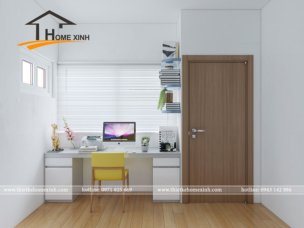 Không gian nội thất bàn làm việc trong phòng ngủ nhỏ