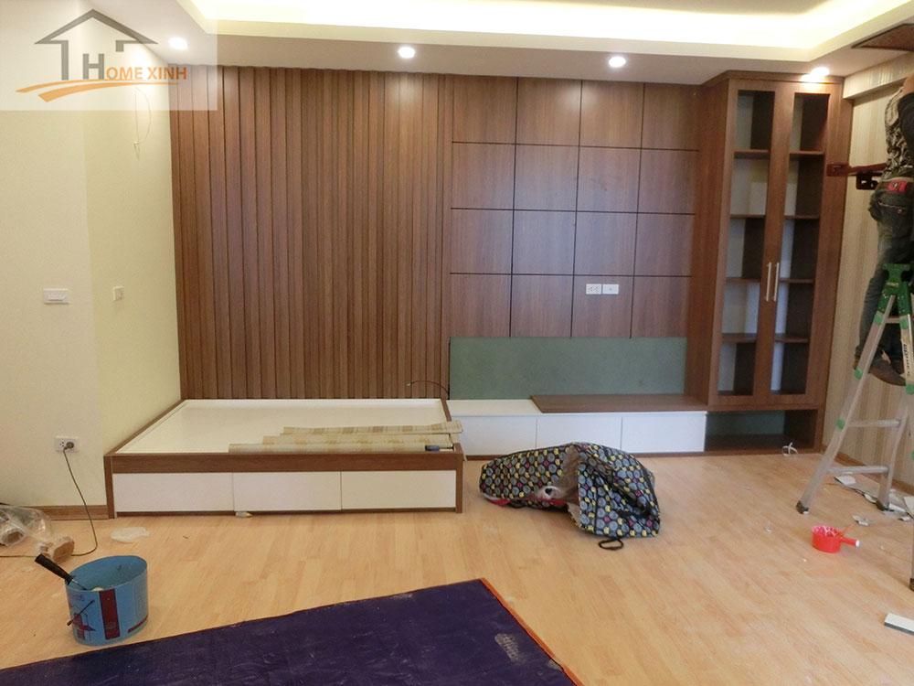 Không gian nội thất được thi công bằng gỗ công nghiệp hiện đại