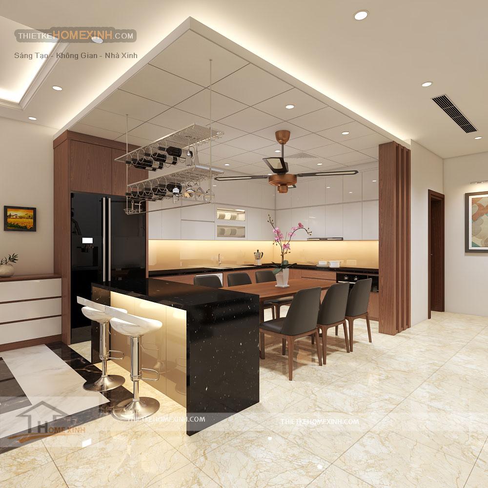 Thiết kế nội thất phòng bếp nhà liền kề