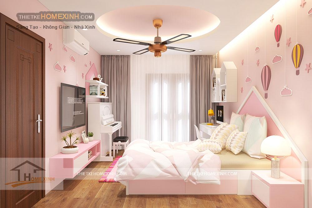 Thiết kế nội thất phòng ngủ con gái nhà liền kề