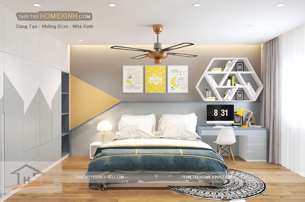 Thiết kế nội thất phòng ngủ con trai ở tầng 2