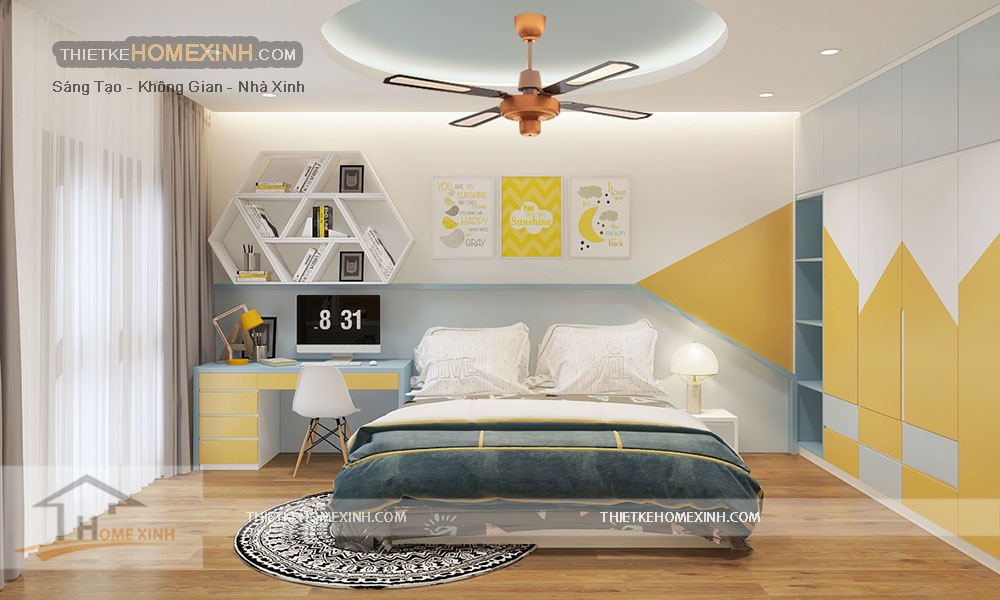 Thiết kế nội thất phòng ngủ con trai trên tầng 3