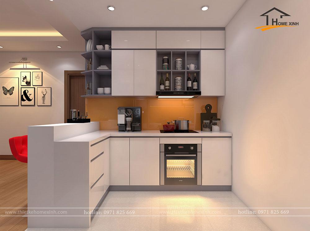 Căn bếp được thiết kế tông màu ghi và trắng phong cách khá tây