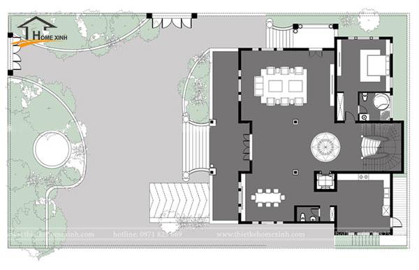 Bản vẽ thiết kế biệt thự 3 tầng tân cổ điển tại Vĩnh Phúc - tầng 1