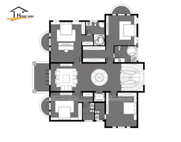 Bản vẽ thiết kế biệt thự 3 tầng tân cổ điển tại Vĩnh Phúc - tầng 2