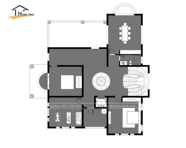 Bản vẽ thiết kế biệt thự 3 tầng tân cổ điển tại Vĩnh Phúc - tầng 3