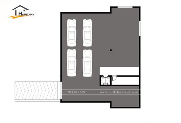Bản vẽ thiết kế biệt thự 3 tầng tân cổ điển tại Vĩnh Phúc - tầng hầm