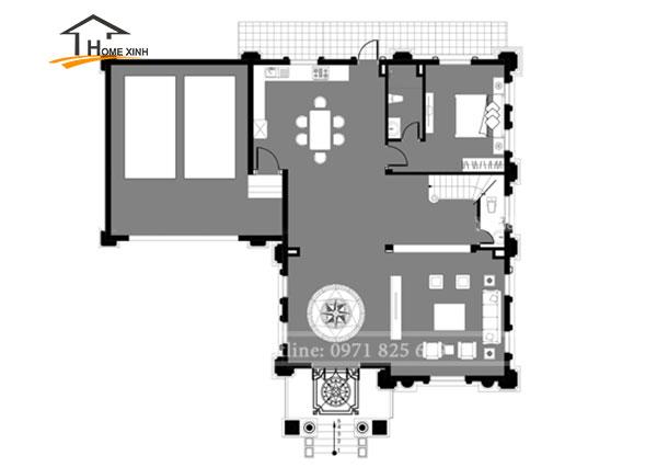 Bản vẽ thiết kế nhà biệt thự 3 tầng cổ điển tại Hòa Bình - tầng 1