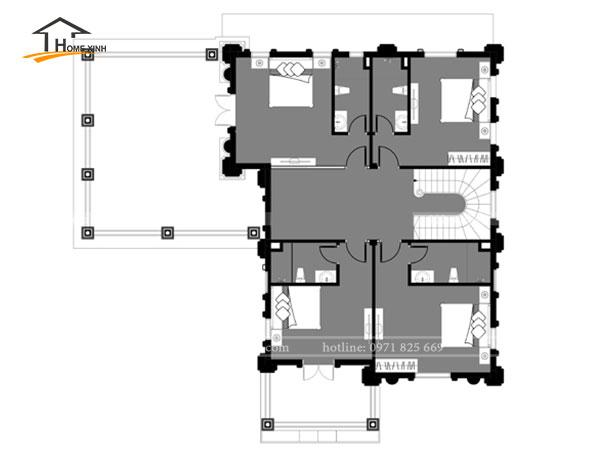 Bản vẽ thiết kế nhà biệt thự 3 tầng cổ điển tại Hòa Bình - tầng 2