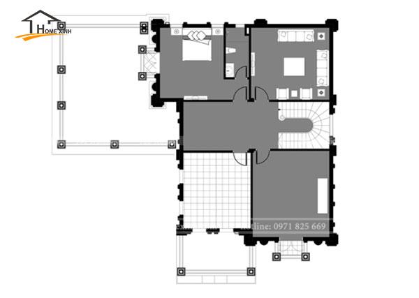 Bản vẽ thiết kế biệt thự 3 tầng tân cổ điển tại Hòa Bình - tầng 3