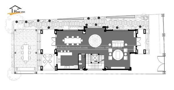 Bản vẽ thiết kế biệt thự 3 tầng hiện đại tại Bắc Ninh - tầng 1