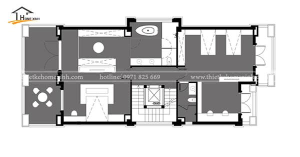 Bản vẽ thiết kế biệt thự 3 tầng hiện đại tại Bắc Ninh - tầng 2