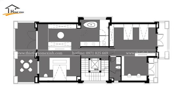 Bản vẽ thiết kế biệt thự 3 tầng hiện đại tại Bắc Ninh - tầng 3