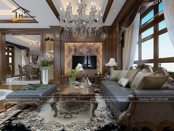 Không gian nội thất biệt thự tân cổ điển tại Nghệ An được gắn kết với nhau với màu nâu sang trọng