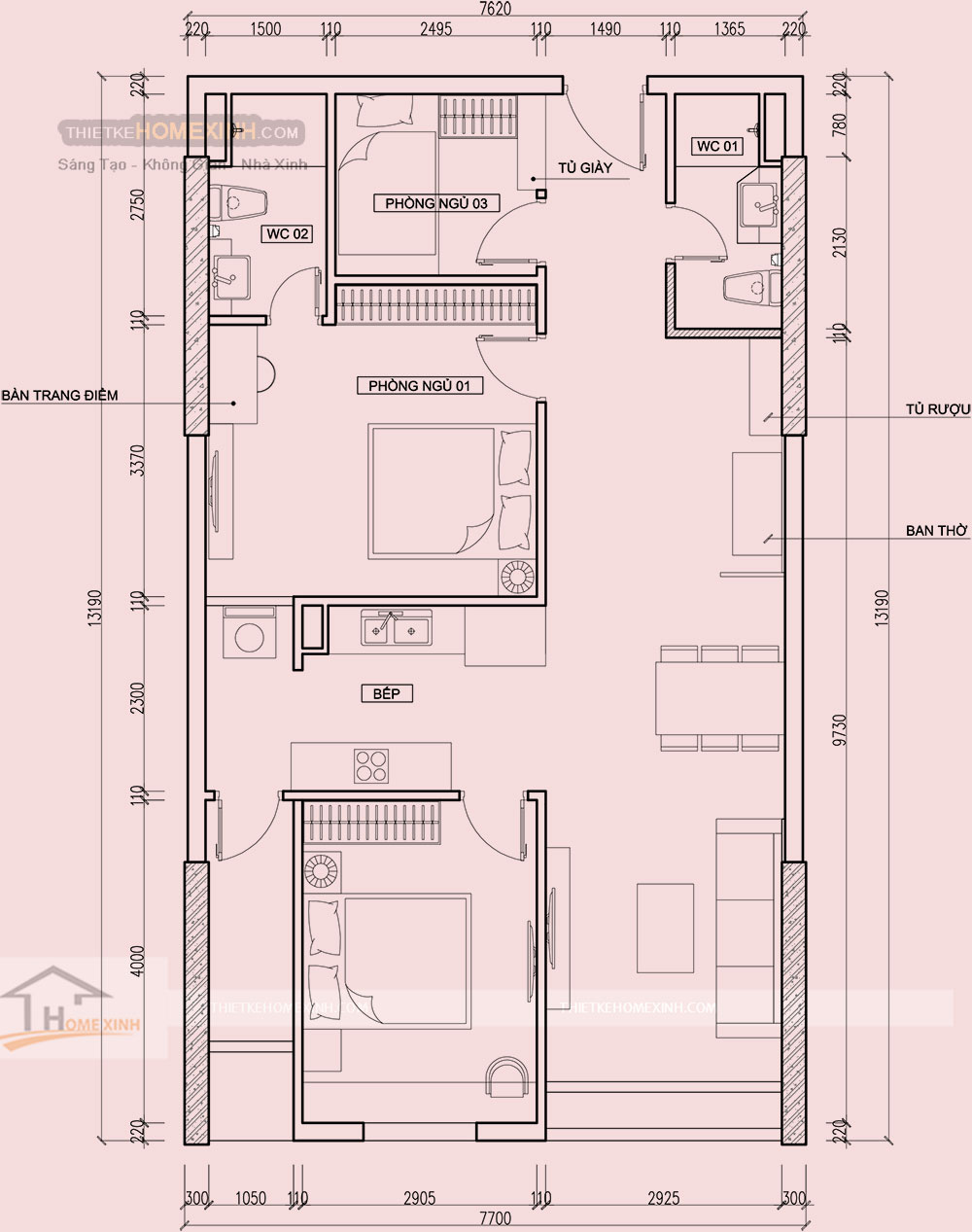 Mặt bằng thiết kế nội thất chung cư Golden West