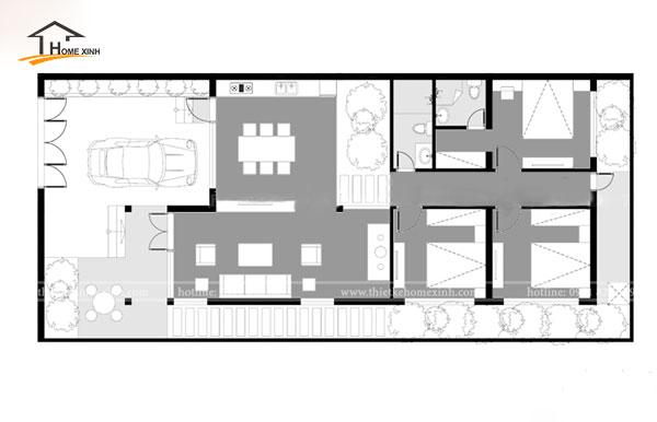 Bản vẽ thiết kế biệt thự 1 tầng nhà anh Minh tại Hoàng Mai, Hà Nội
