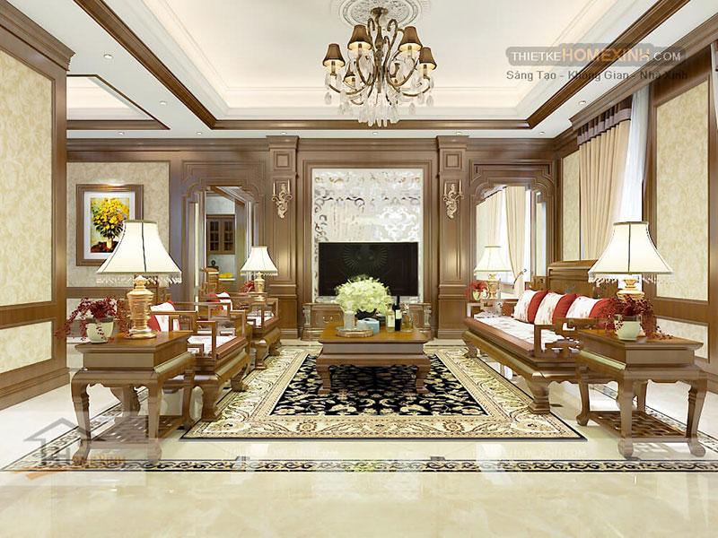 Phòng khách trong thiết kế biệt thự tại Phú Thọ