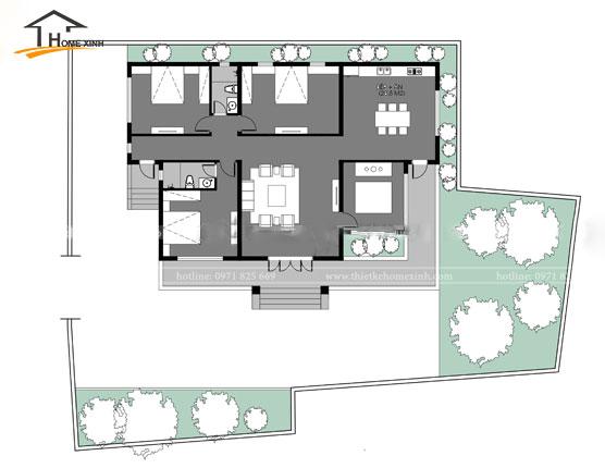 Bản vẽ thiết kế biệt thự 1 tầng tại Hải Dương