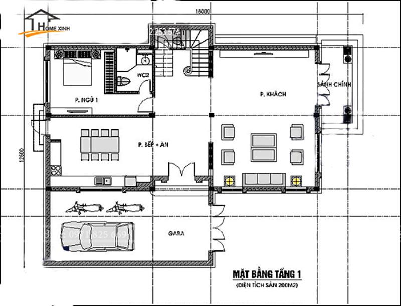 Bản vẽ thiết kế nhà biệt thự đẹp 2 tầng