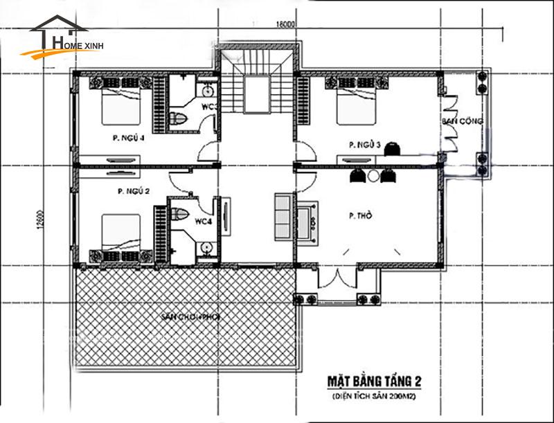 Bản vẽ thiết kế nhà biệt thự đẹp 2 tầng - ảnh 2